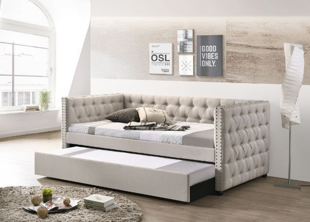 Acme 39440 Alcott hill armijo lianna beige fabric day bed with pull out trundle