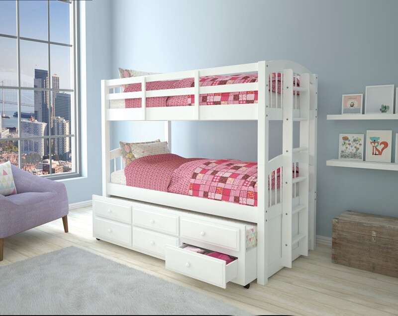 Acme 39995 Harriet bee guilford micah white finish wood twin over twin bunk bed set trundle pull out with drawers