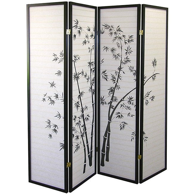 Asia Direct 591-4 4 panel black finish wood bamboo design rice paper room divider shoji screen
