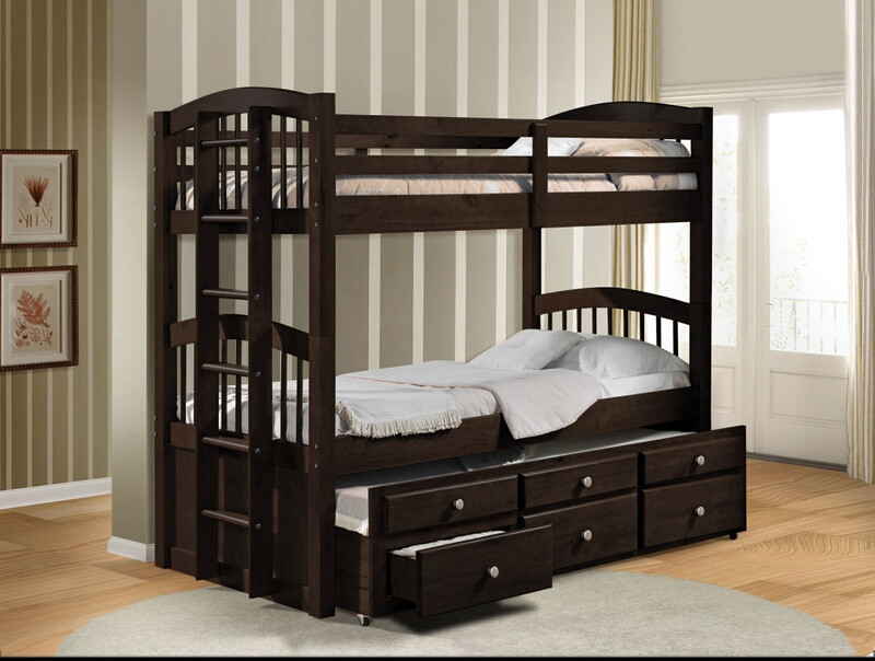 Acme 40000 Harriet bee stoughton micah espresso finish wood twin over twin bunk bed set trundle pull out with drawers