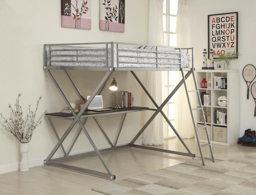 400034F Mack & Milo allenside silver finish metal full loft student bunk bed set