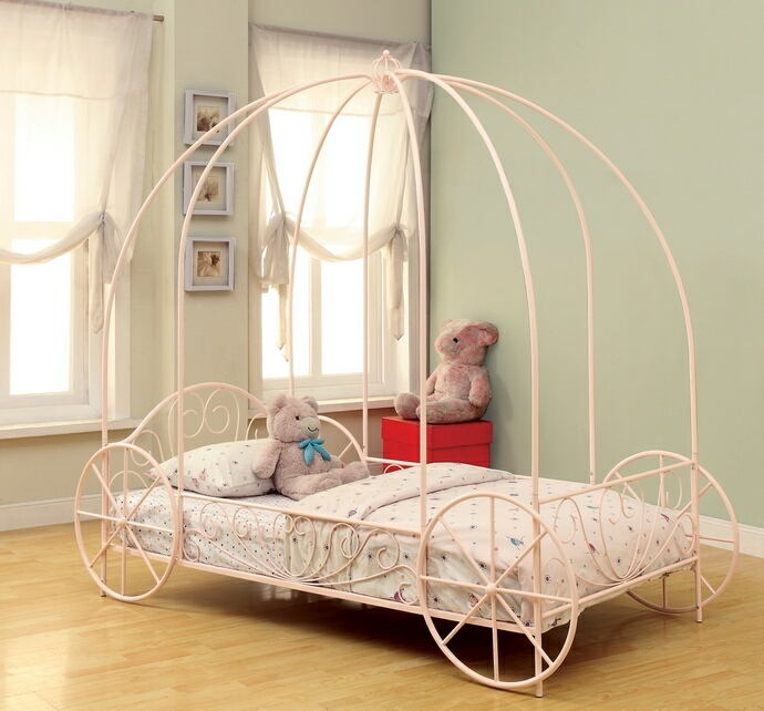 Massi collection powder pink twin size kids princess carriage canopy bed with wheels