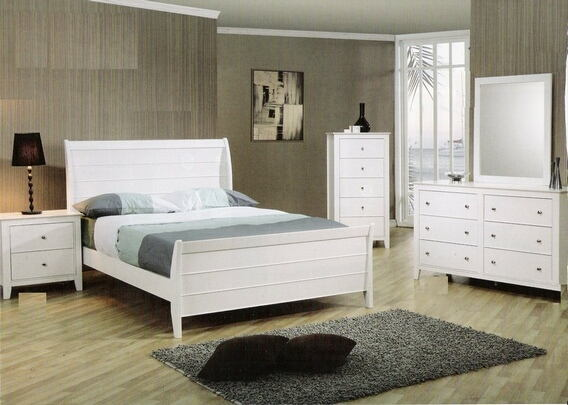 400231T5PC 5 pc kelly twin size white finish wood sleigh bedroom set