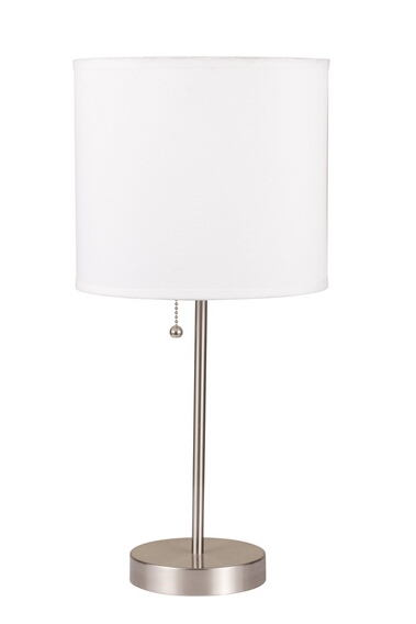 Vassy brushed steel finish table lamp with basic white cylindrical lamp shade