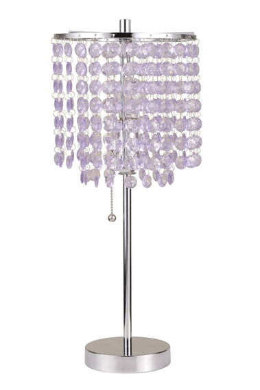Modern style brushed steel finish metal table lamp with crystal chandelier style lamp shade