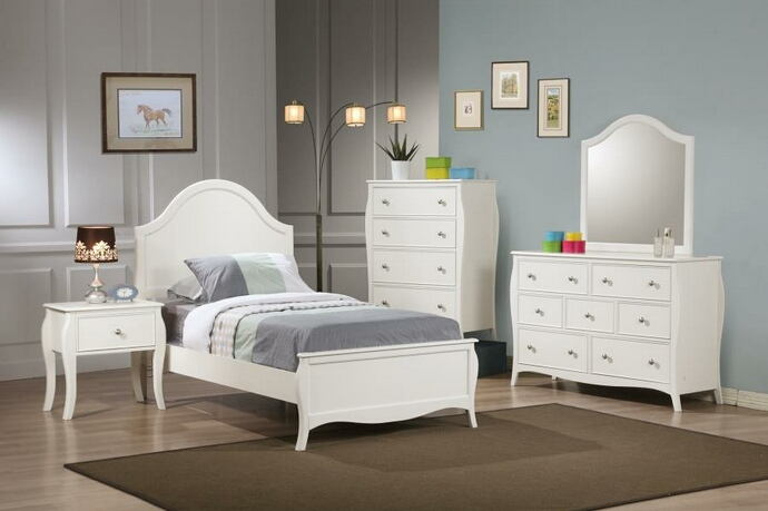 400561 4 pc dominique white finish wood children's twin bedroom set with curved accents
