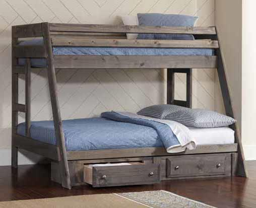 400830 Harriet bee lollis wrangle hill rustic gun smoke grey finish wood twin / full bunk bed