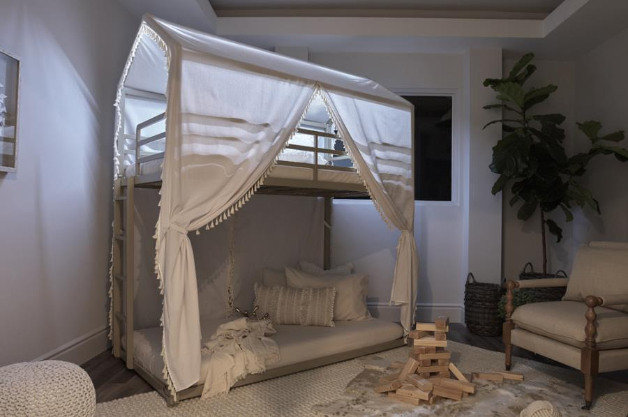 400915T Zoomie kids adcock belton cottage champagne finish metal canopy twin / twin bunk bed set