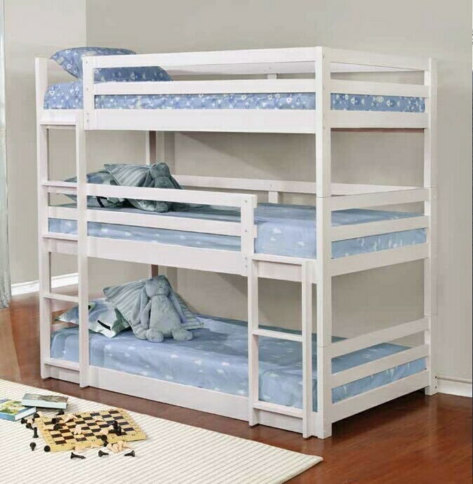 401302 Harriet bee lomas triple twin white finish wood twin over twin over twin bunk beds