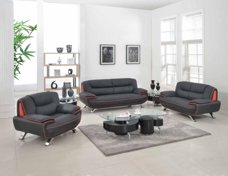 405BK-2PC 2 pc Orren ellis nicollet modern style black genuine leather sofa and love seat set