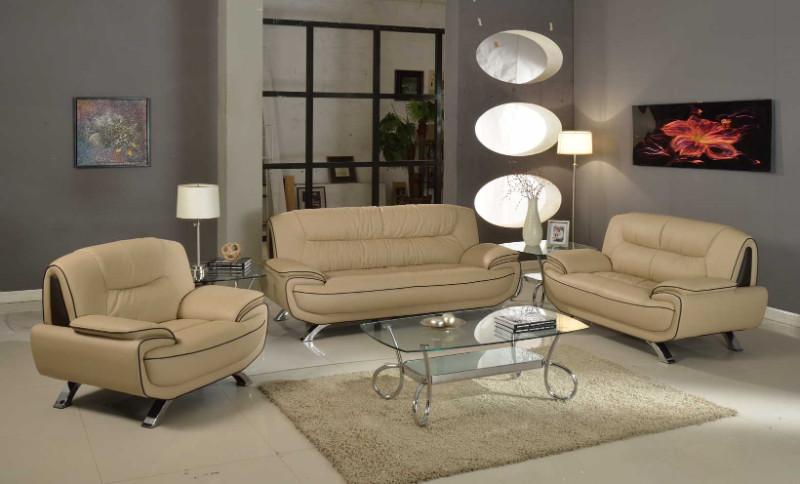 405BG-2PC 2 pc Orren ellis nicollet modern style beige genuine leather sofa and love seat set