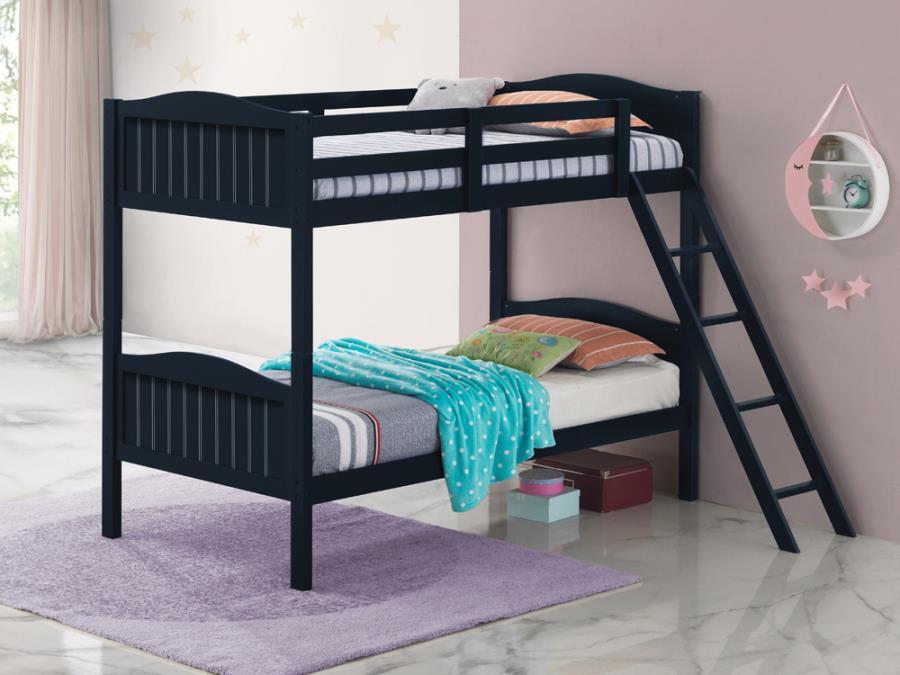 405053BLU Taylor & olive mayapple blue finish twin over twin bunk bed set