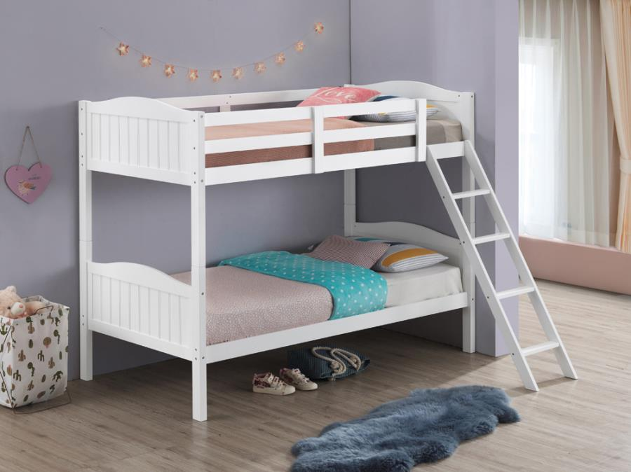 405053WHT Taylor & olive mayapple white finish twin over twin bunk bed set