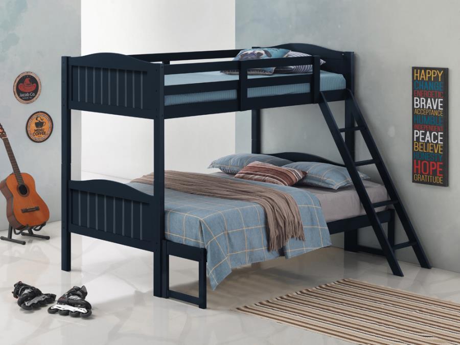 405054BLU Taylor & olive mayapple blue finish twin over full bunk bed set