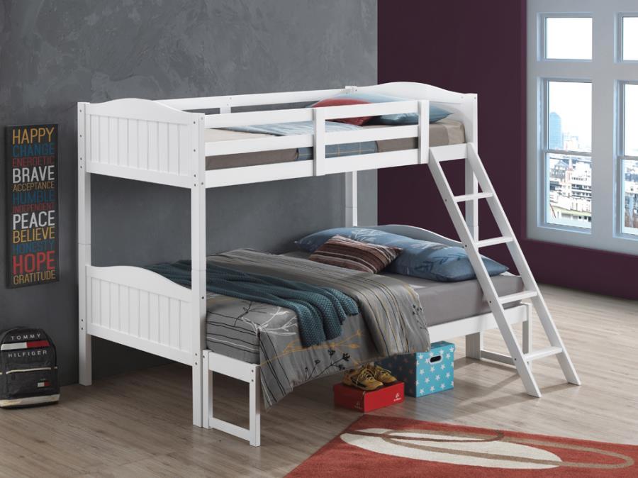 405054WHT Taylor & olive mayapple white finish twin over full bunk bed set