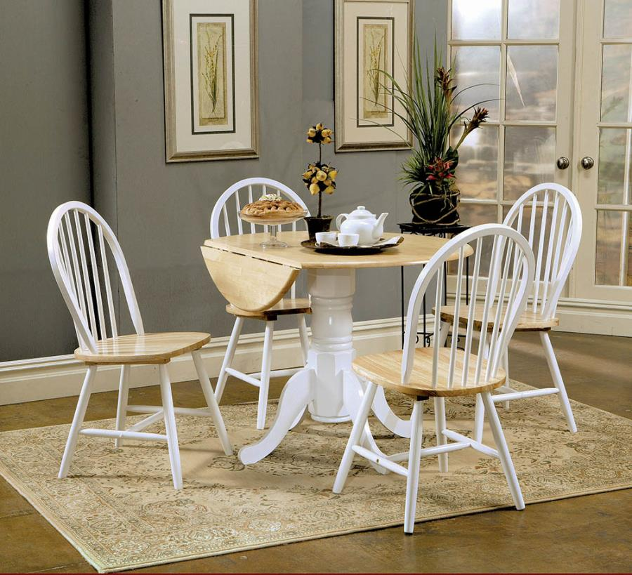 4241 5 Pc Hesperia Natural And White Finish Wood Breakfast Bistro Drop Leaf Table Set