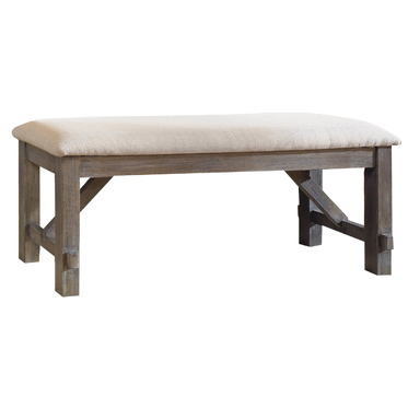 Turino collection grey oak finish wood dining table bench.