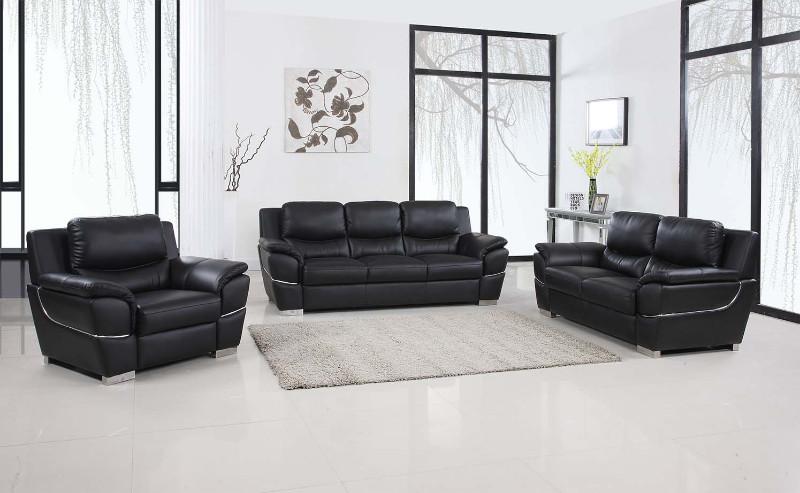4572BK-2PC 2 pc Latitude run huckleberry modern style black genuine leather sofa and love seat set
