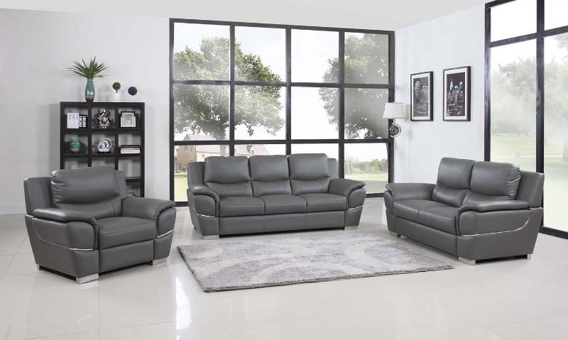4572GR-2PC 2 pc Latitude run huckleberry modern style grey genuine leather sofa and love seat set