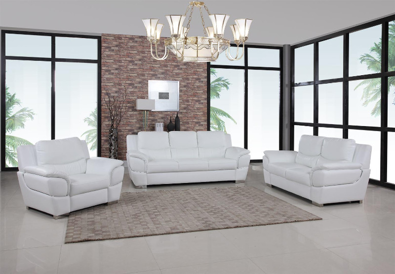 Global-United-4572WH-2PC 2 pc United collection modern style white genuine leather upholstered sofa and love seat set