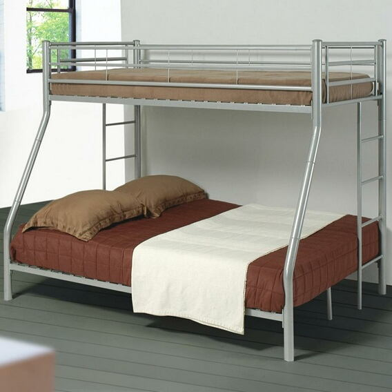 Silver finish metal twin over full bunk bed set