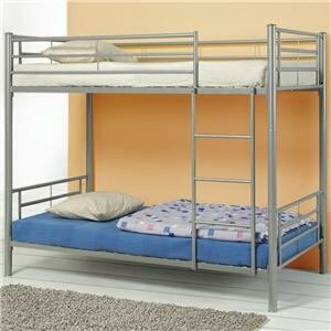 Silver finish metal twin over twin bunk bed set
