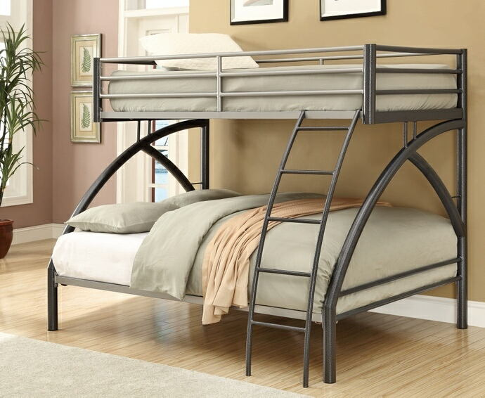 College style dark gun metal grey finish metal frame twin over full bunk bed with curved legs and ladder