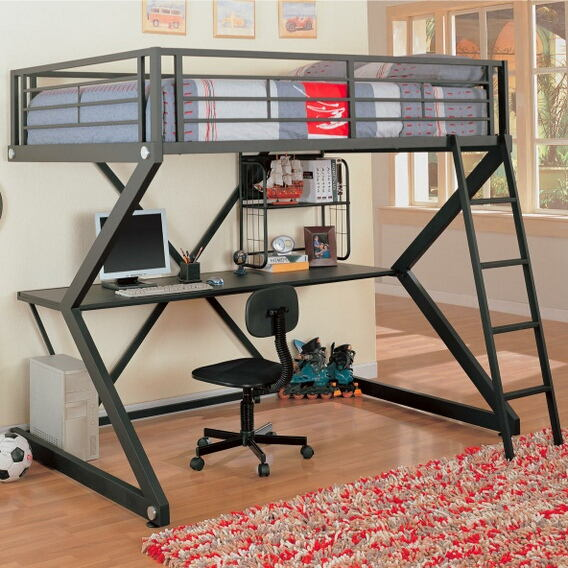 Contemporary style matte black finish metal full loft bunk bed set