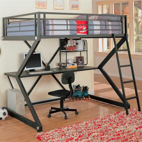 Contemporary style matte black finish metal full loft bunk bed set