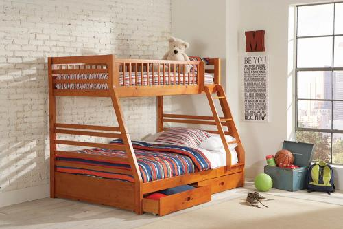 460183 Oak finish wood twin over full bunk bed set with storage drawers
