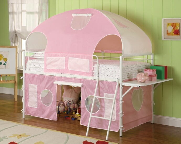 460202 Sweetheart twin loft bed with white frame and pink tented play area and canopy