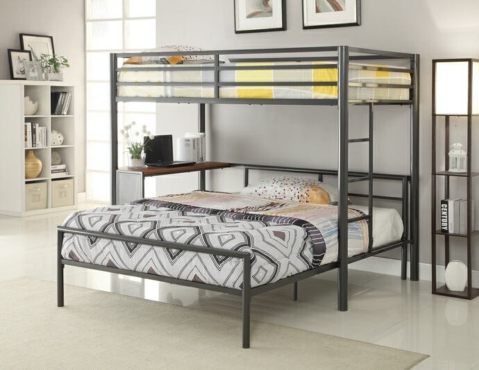 College style twin over full bunk bed in a dark gunmetal finish with lower workstation area