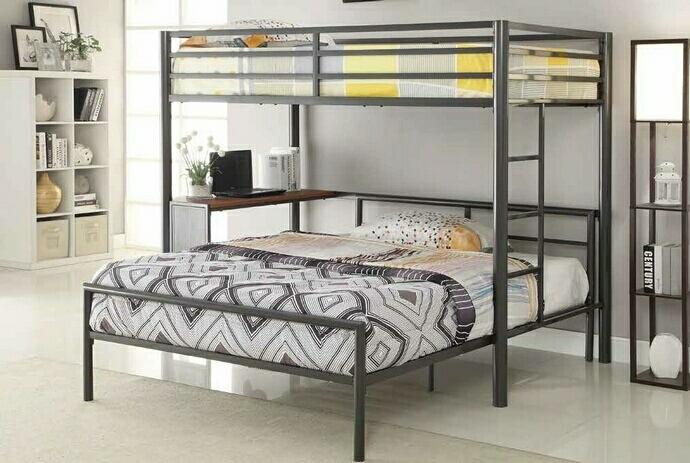 460229-300279T Harriet bee nedra dark gunmetal finish metal frame twin over twin bunk bed with desk
