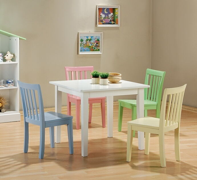 5 pc kids play table set with multi color chairs and white finish wood table