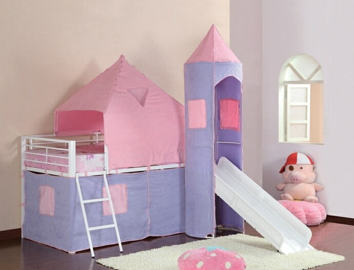 Princess castle twin loft bed with slide with white frame and purple and pink tent