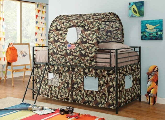 Camouflage army style twin loft bed with black frame and green and brown camouflage tented play area and canopy