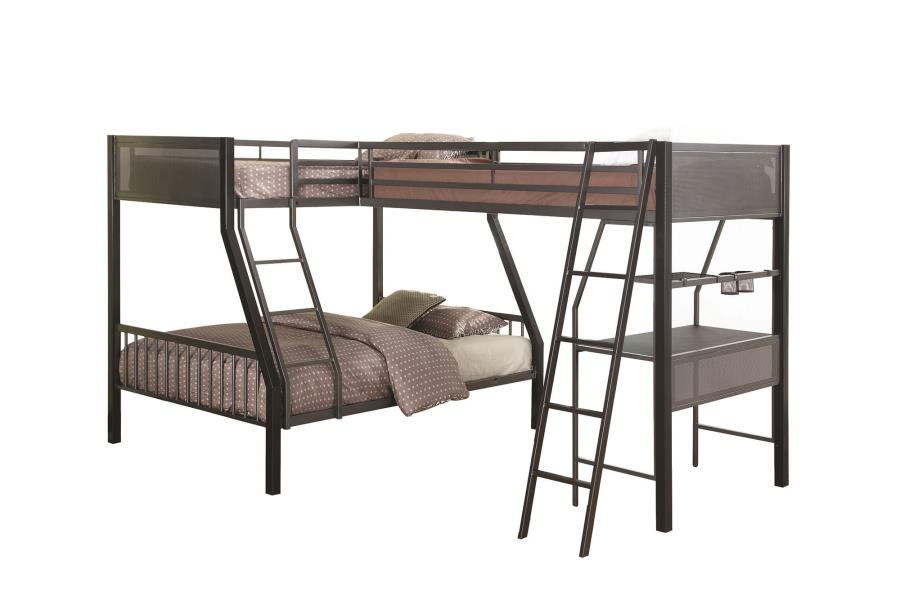 460391-460392 Ballarat II black and gun metal finish triple twin over full over twin with workstation bunk bed set