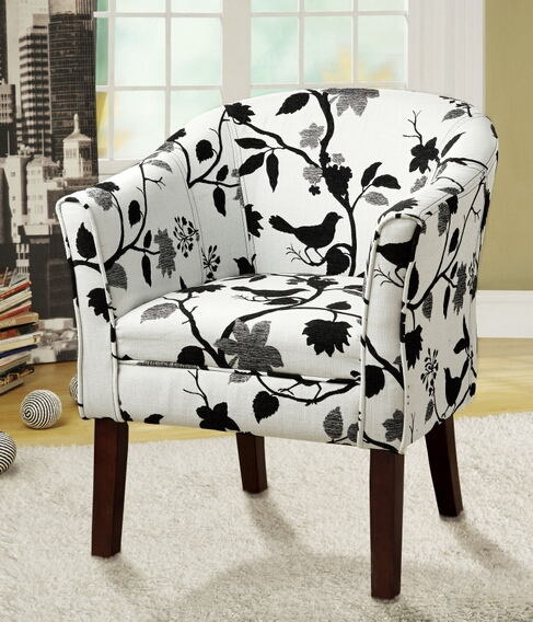 460406 Dark finish wood frame barrel shaped accent side chair with bird and branch upholstery