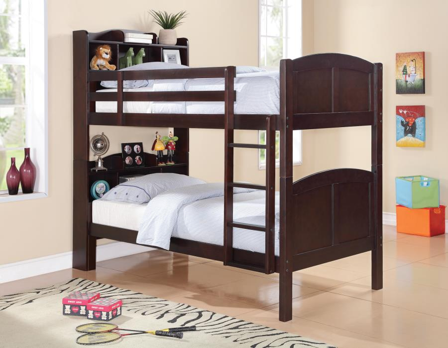Parker collection espresso finish wood twin over twin bunk bed with bookcase headboard