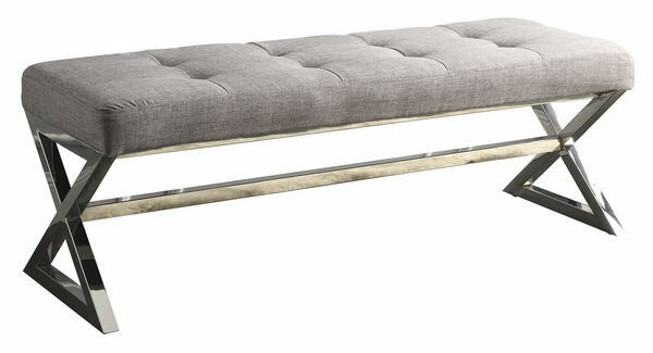 Rory collection grey linen fabric upholstered bedroom bench with chrome finish metal frame