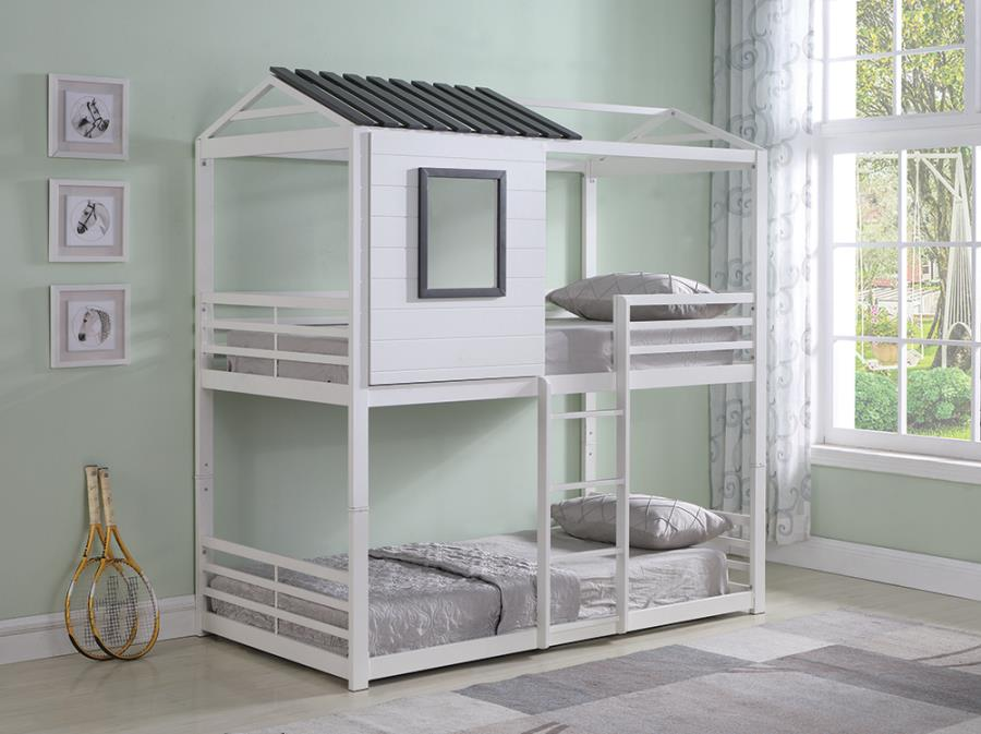 461161 Zoomie kids adcock rohan cottage white and grey finish metal playhouse style twin / twin bunk bed set