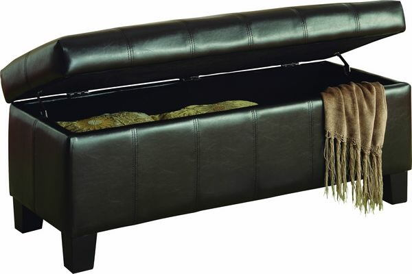 Homelegance 471PU Clair brown bycast vinyl storage ottoman bench with baseball stitching