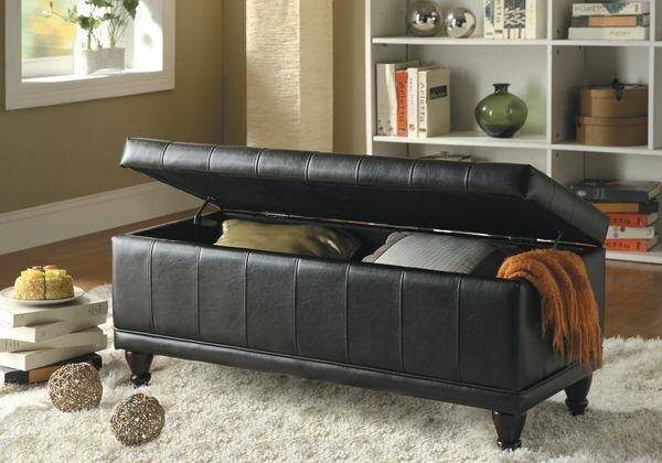Afton collection brown bycast vinyl upholstered storage ottoman bench with tufted seat