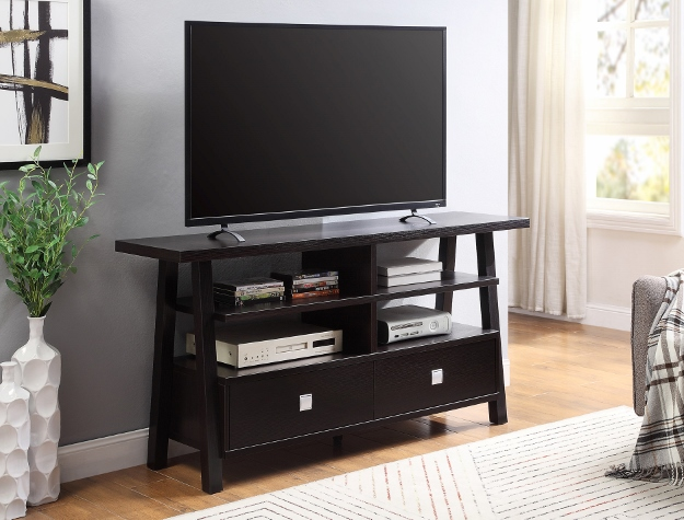 4808-ESP Jarvis espresso finish wood tv stand console with drawers