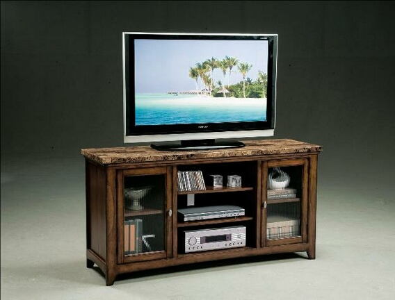 Thurner medium oak finish wood with faux marble top tv console