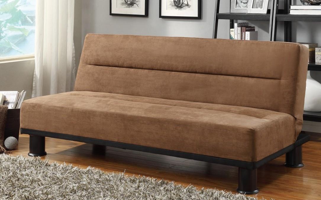 Homelegance 4823BR Winston porter Callie brown microfiber fabric click clack futon sofa folding back