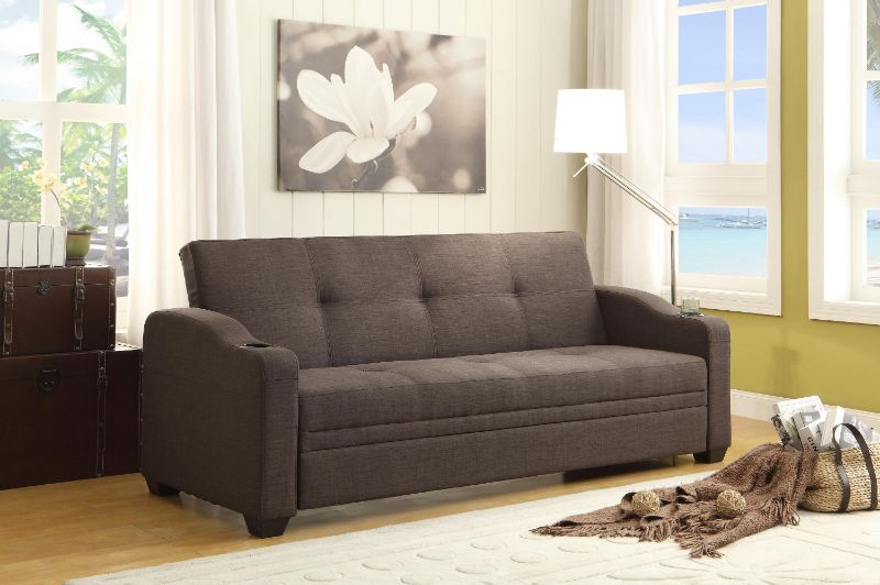 Home Elegance 4829LN Caffery gray fabric folding futon sofa bed cup holders
