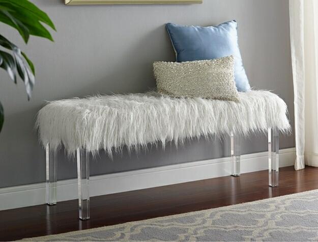4947 Fatima white faux fur bedroom entry bench acrylic legs