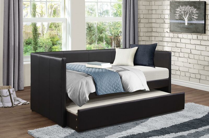 4949BK Tristan II black faux leather twin day bed with trundle