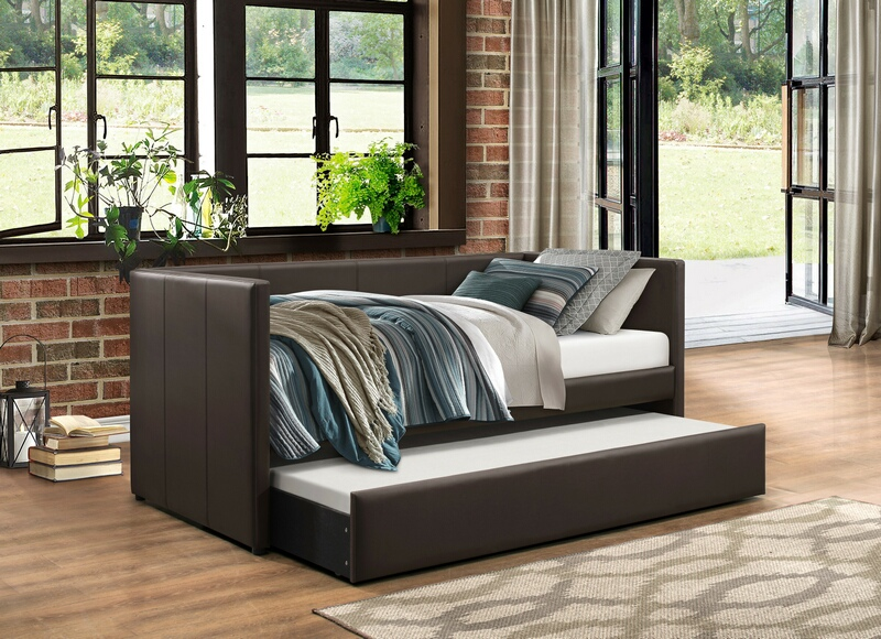 4949BR Tristan II brown faux leather twin day bed with trundle
